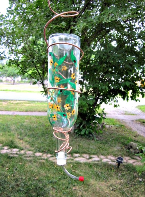Wine Bottle Hummingbird Feeder Clear Glass Hand by GlassGaloreGal, $18.00
