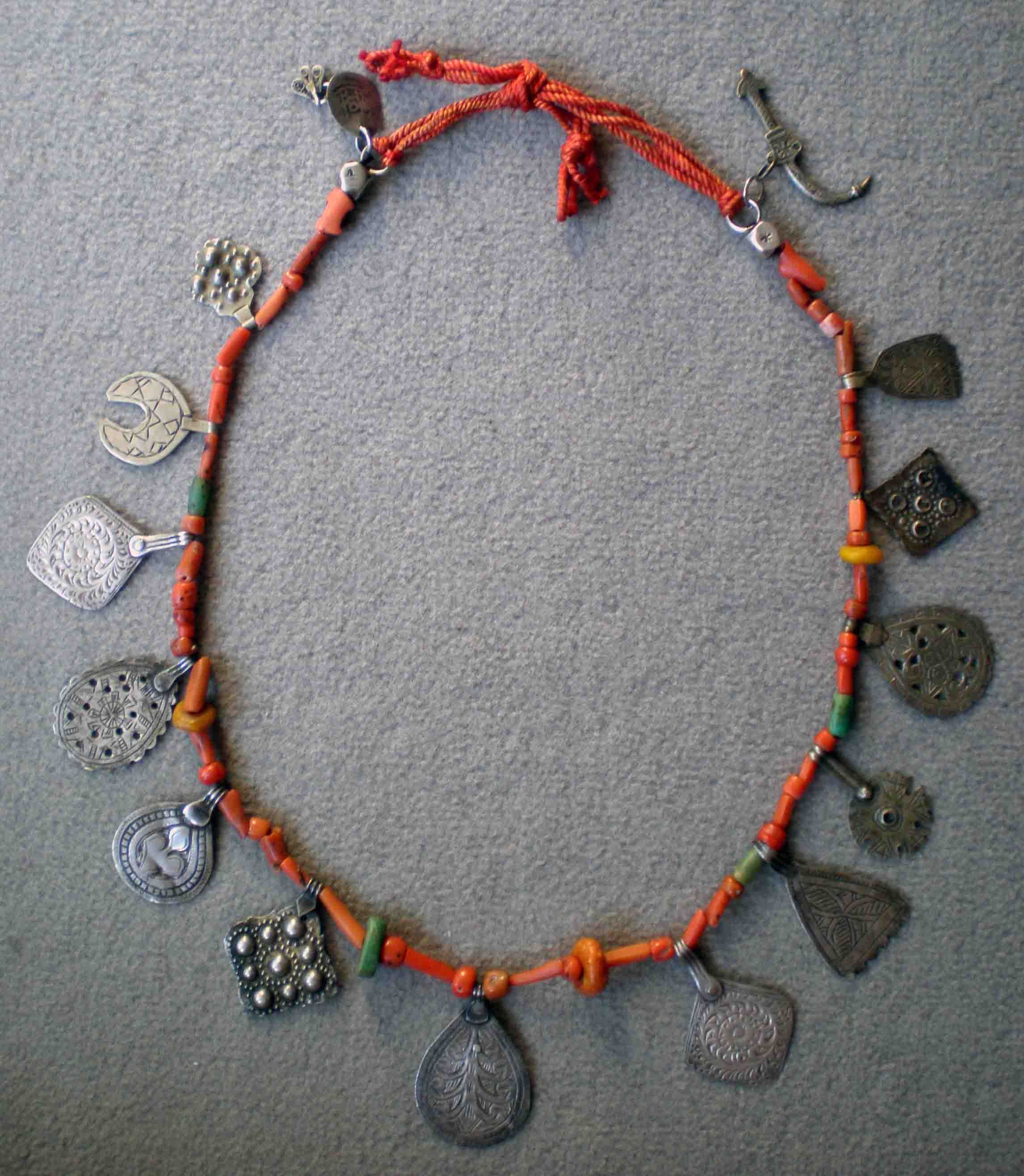 a coin african berber kind beads one morocco of mushmina vintage raw blues brass necklace products silk