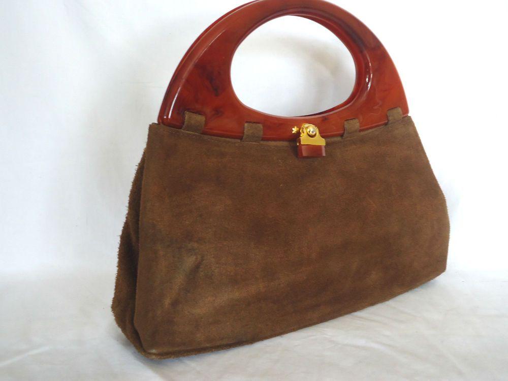 VINTAGE HANDBAG BROWN SUEDE LEATHER HARMONY BAG TWO BAKELITE PLASTIC HANDLES 16634b82d3d24
