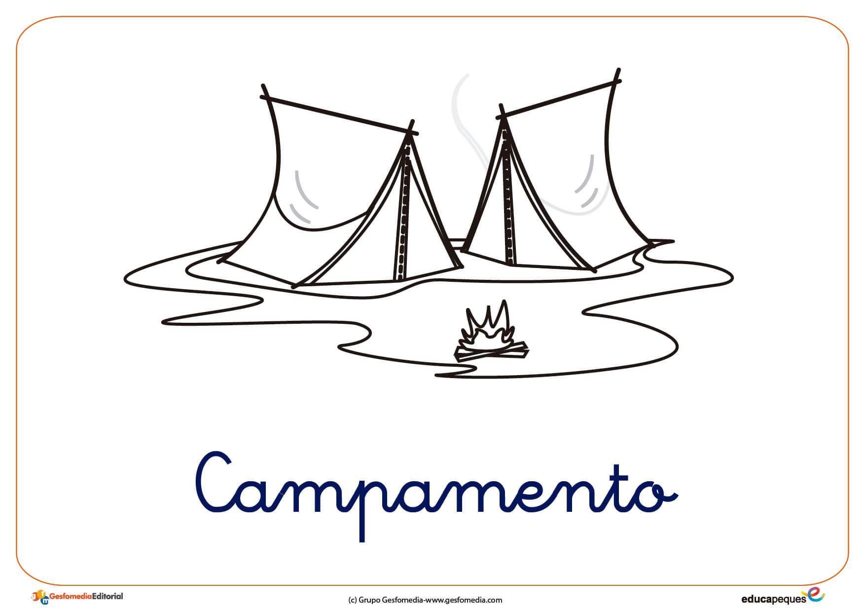Campamento Ficha Verano Colorear Fichas Playa Dibujo Pesca