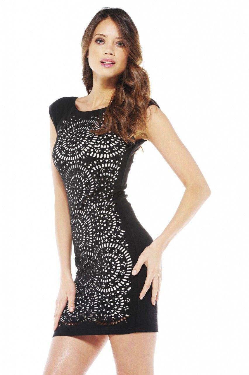 AX Paris Womens Monochrome Wetlook Cutout Dress - Online