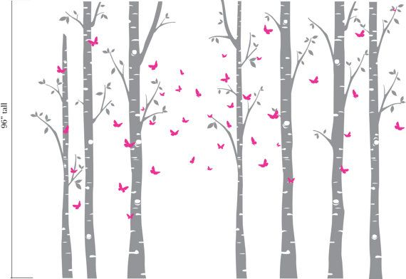 Birch Decal with Butterflies, set of 7 birch trees, Butterfly decal ...