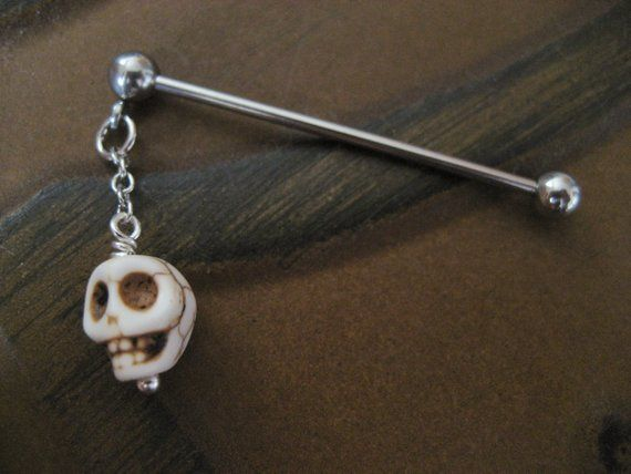 Industrial Barbell 16g 14g Earring, Piercing Jewelry White Turquoise Skull Charm…