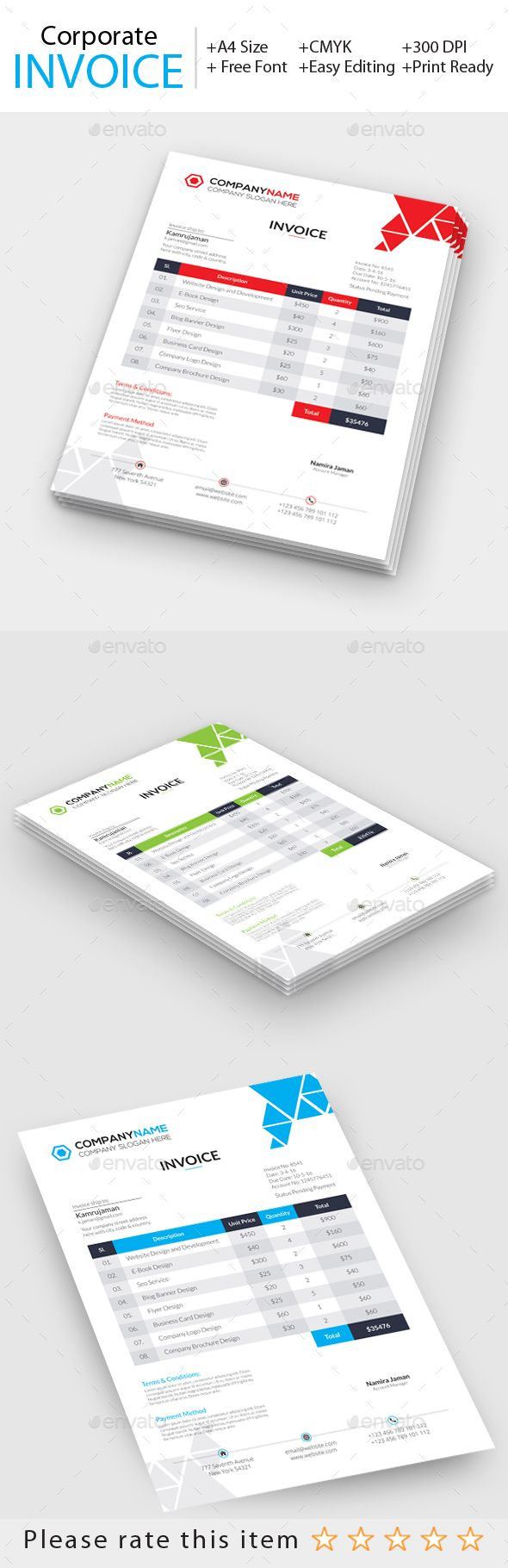 corporate invoice business proposal font logo and fonts
