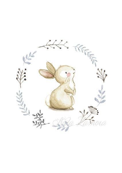 "NURSERY Art ""BUNNY"" Art Print, Nursery Illustration, Bunny nursery art, Bunnies wall art, Nursery wall art, Whimsical art, Bunny print."