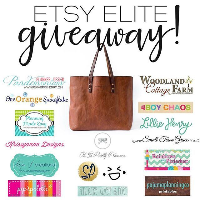 Etsy Elite Loop Giveaway  The perfect bag to store your planner in and some planning supplies to go with! The winner will receive a Whipping Post tote three sets of stamps from TinyStampsBigPlans a WoodlandCottageFarm cover 10 printables from PajamaPlanningCo and $50 in shop credit from the other 12 stores! Almost $900 worth in prizes!  How to enter:  1. You MUST like this post 2. Follow me & all the other accounts involved 3. Tap the picture to head to the next account 4. Repeat steps 1-3…