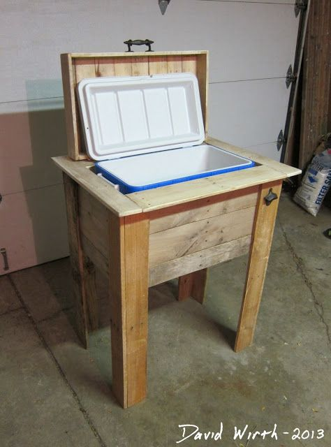 http://davewirth.blogspot.com/2013/11/rustic-outdoor-cooler-stand-wood-pallet.html     Rustic wood cooler stand made out of a wood pallet