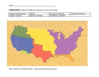 This is a map quiz on the Westward Expansion of the United States