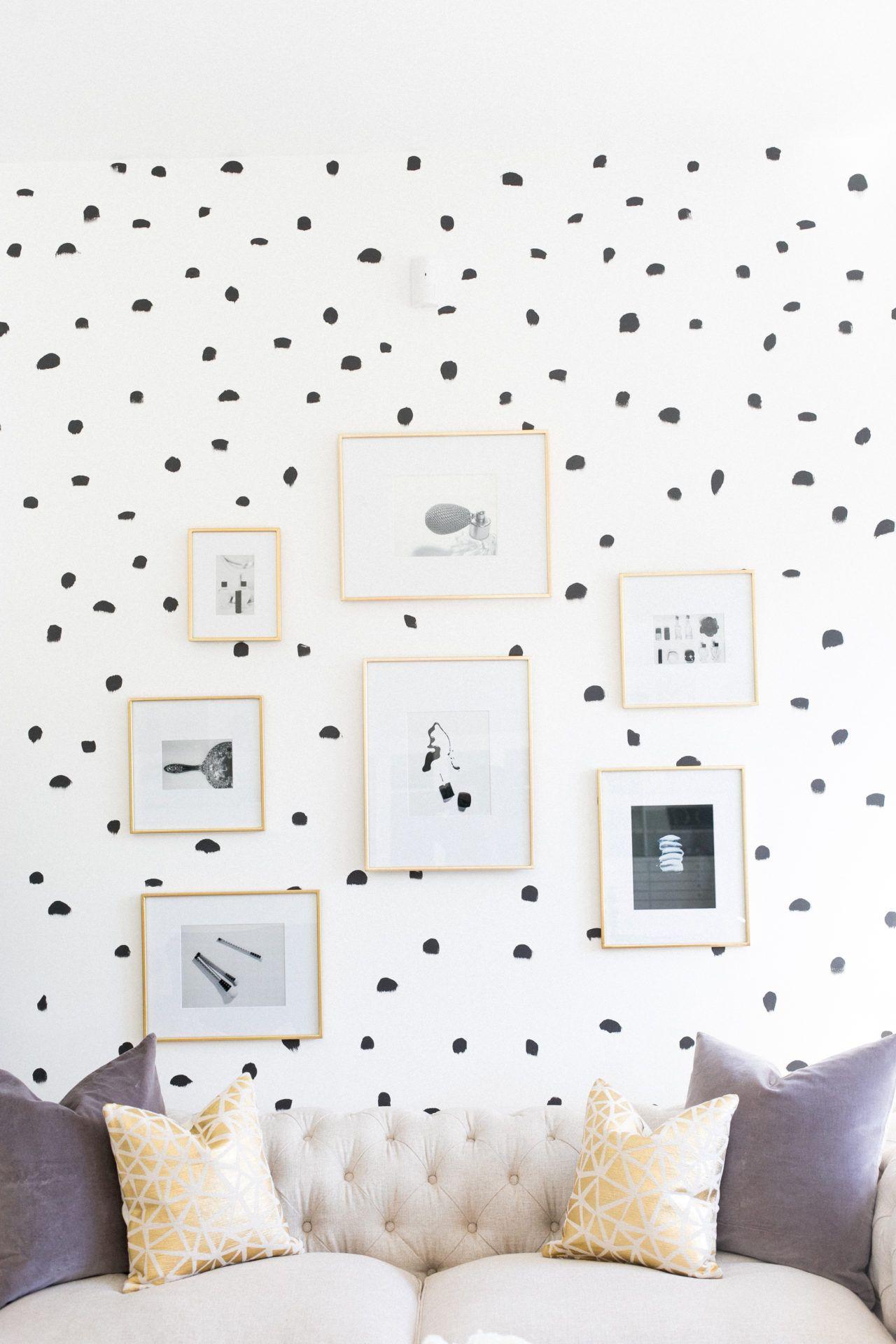 Diy Brush Stroke Inspired Polka Dot Wall Polka Dot Walls Wall Decor Bedroom Statement Walls Bedroom
