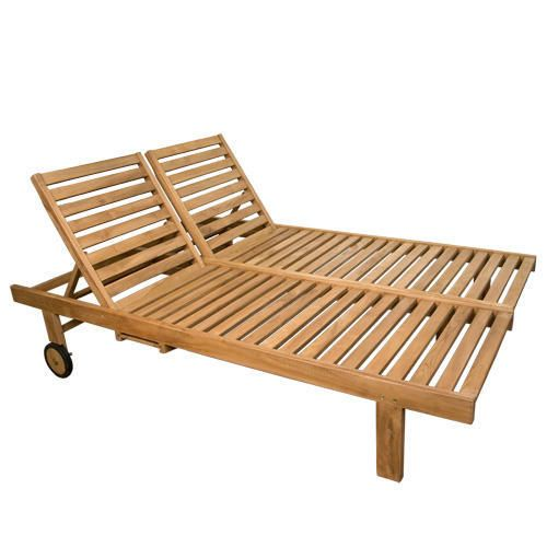 Teak Double Chaise Lounge Chair For Outdoor