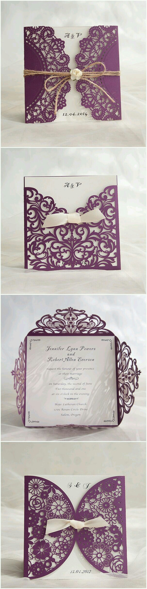 diy rustic wedding invitations burlap%0A rustic purple laser cut invitation with twine and flower EWWS      Laser  cut wedding invitations  Country weddings and Laser cutting