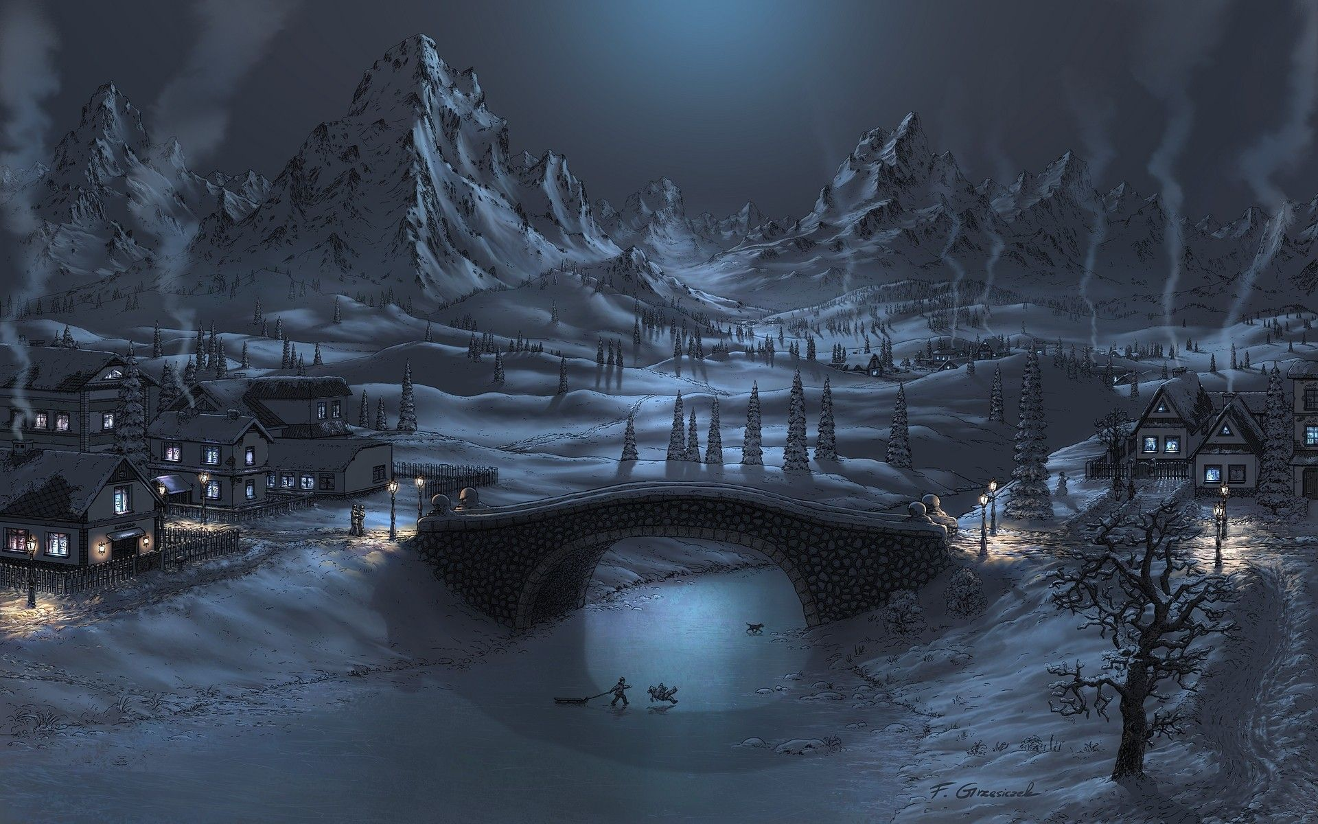 Mountains Winter Snow Night Bridges Artwork Fel X Wallpaper Background Winter Wallpaper Hd Snow Night Winter Wallpaper