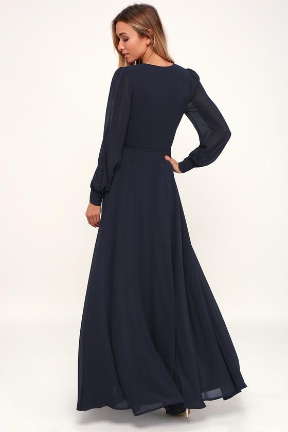 35+ Long sleeve navy blue dress information