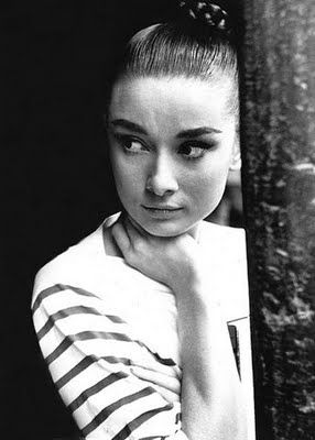 Audrey Hepburn, gamine and stripey.