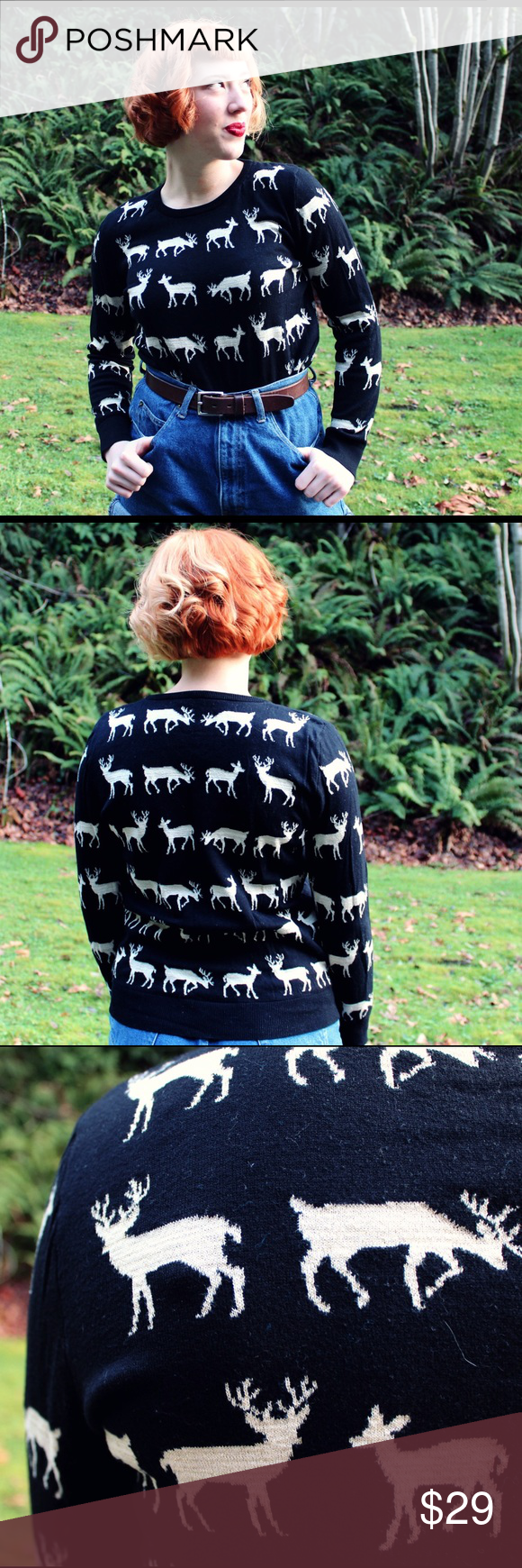 Sparkly Deer Sweater  The perfect cozy winter top complete with doe and buck Sparkly Deer Sweater  The perfect cozy winter top complete with doe and buck