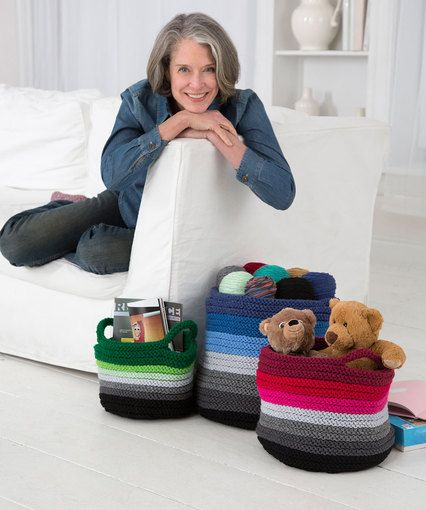 View All Free Knit Patterns from Redheart: Ombre Knit Baskets
