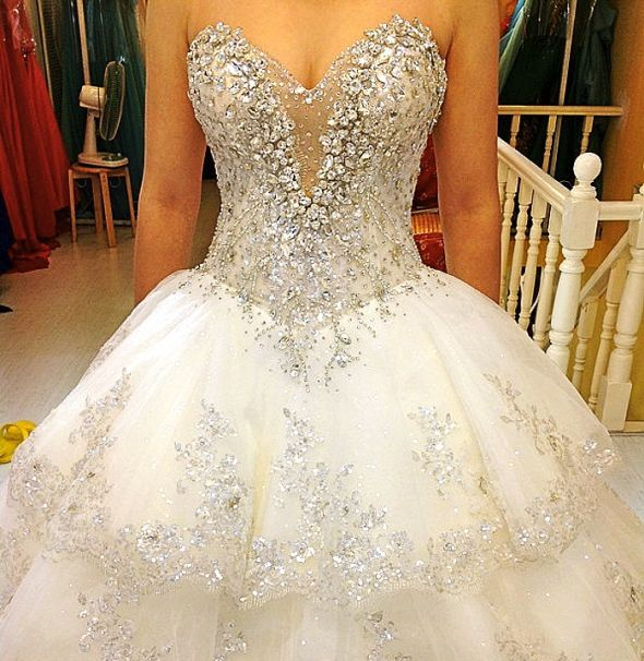 Wedding dress help wedding bling crystal gorgeous for Bling princess wedding dresses