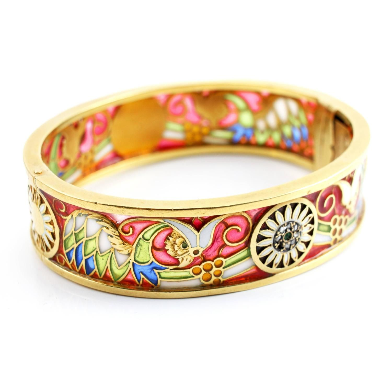 enamel asmitta products cluster women work for bangles comp meenakari gold bangle plated