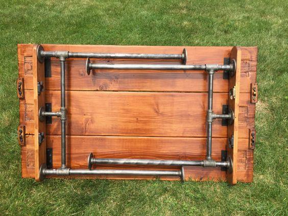steel pipe folding table projects pinterest m bel tisch und holz. Black Bedroom Furniture Sets. Home Design Ideas