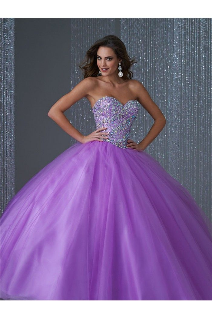 Lovely Ball Gown Strapless Lilac Tulle Beaded Quinceanera Prom Dress ...