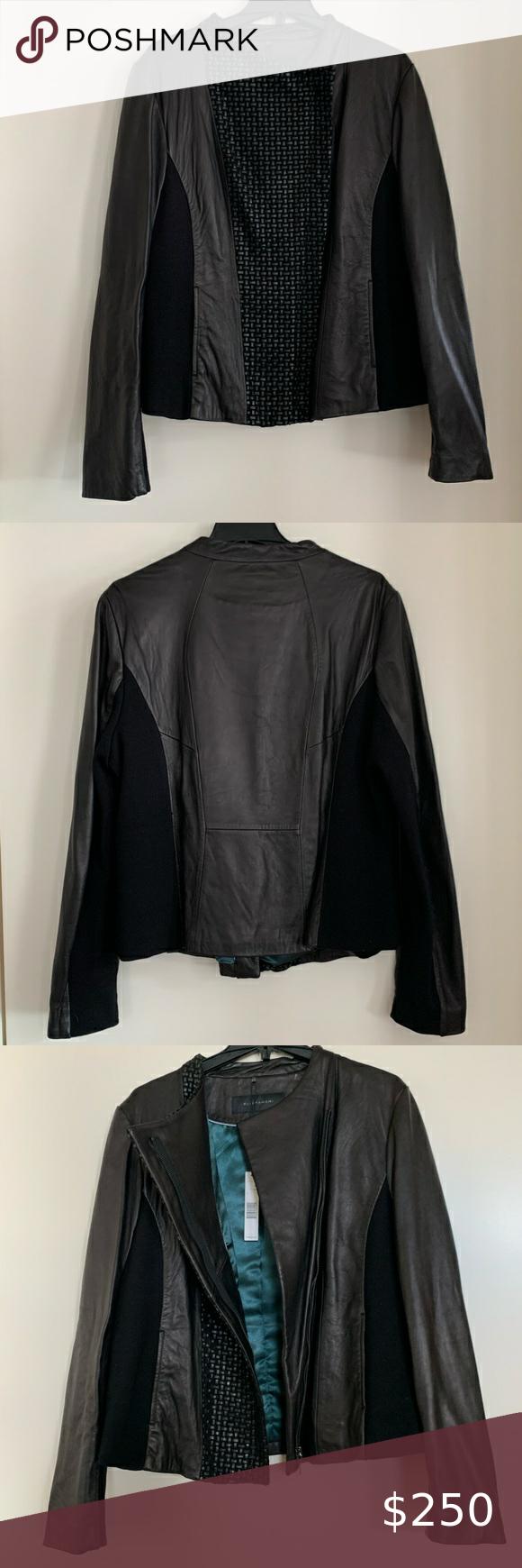 Ellie Tahari Leather Jacket Nwt In 2020 Leather Jacket Elie Tahari Jacket Jackets [ 1740 x 580 Pixel ]