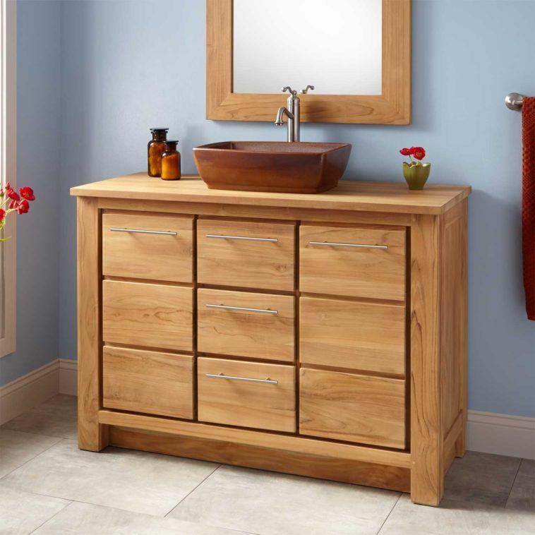 Bathroom. Narrow Depth Wood Bathroom Vanity With Plenty Drawers And Brown  Vessel Sink. Fabulous