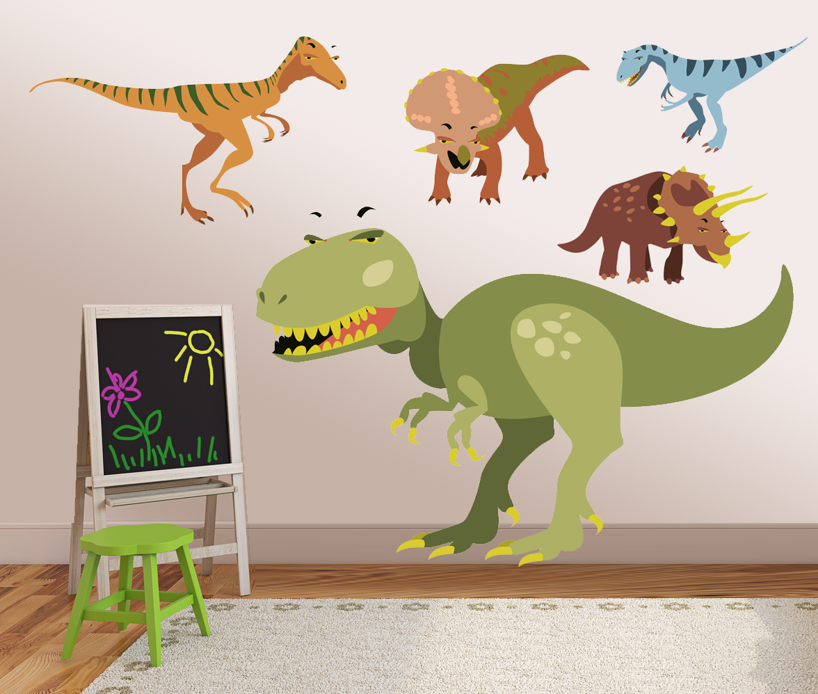 Vinyl dinosaur wall decals kids wall stickers dino for Dinosaur pictures for kids room