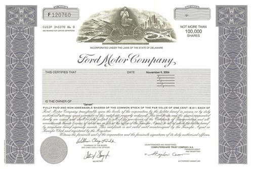 Ford Stock Certificate