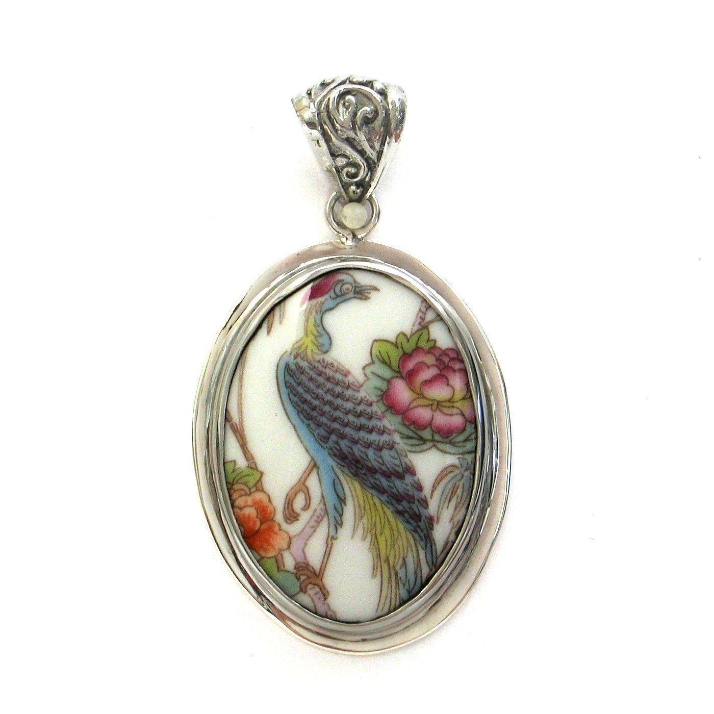 Broken China Jewelry Wedgwood Kutani Crane Bird C Oval Sterling Pendant