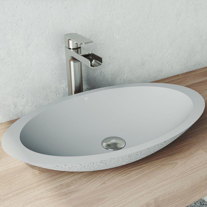 "Vigo VG04055 Ash Yarrow 23-1/8"" Oval Cast Stone™ Vessel Bathroom Sink"