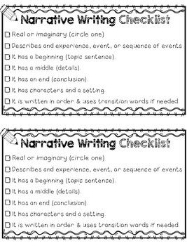 Personal Narrative Writing Transition Words Sentence