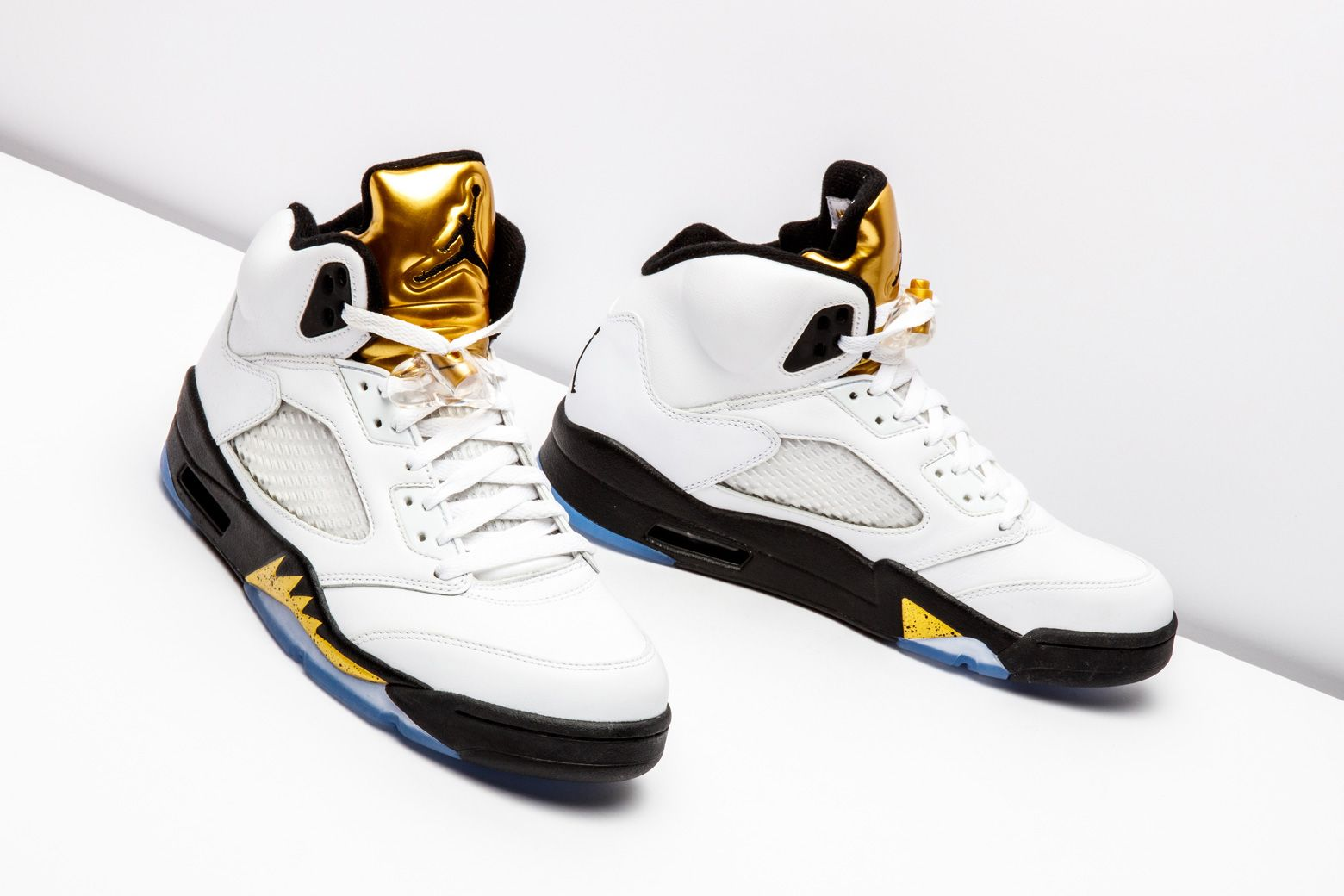 bf940295a58 This Olympic-inspired Air Jordan 5 Retro is memorable because of its  eye-catching gold tongue.