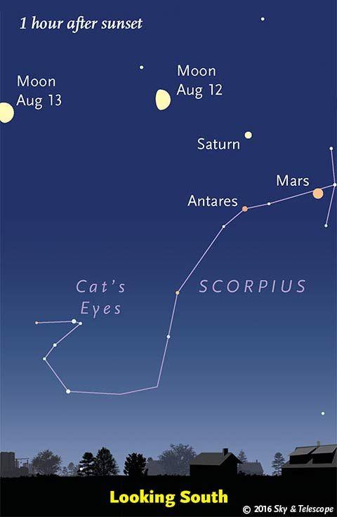 moon mars saturn and scorpius aug 12 13 2016 space fantastic