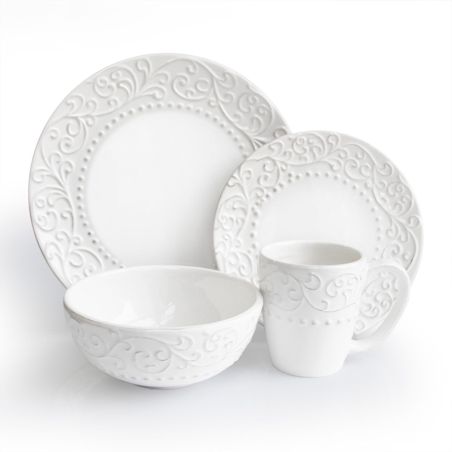 This Bianca White dinnerware set from American Atelier has a classic simple design. Elegant earthenware construction and a perfect way to accentuate both ...  sc 1 st  Pinterest & This Bianca White dinnerware set from American Atelier has a classic ...