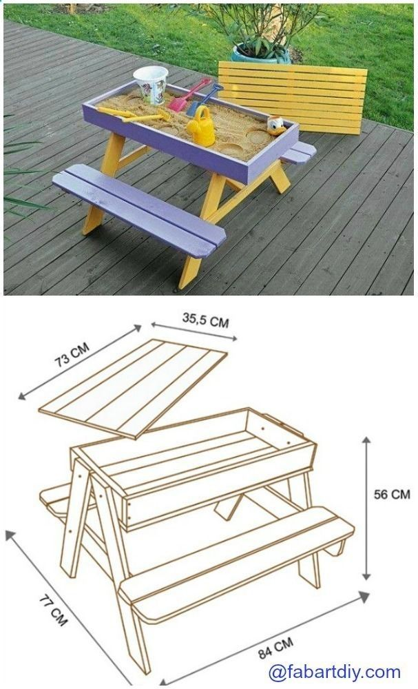 Plans Of Woodworking Diy Projects   DIY Sandbox Picnic Table Plan  #Woodworking, #Outdoor