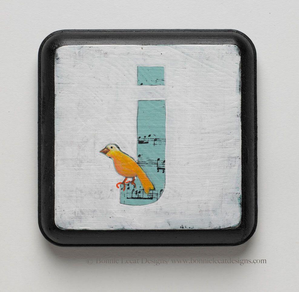 Letter J Wall Art Bird Nursery Monogram Art Block Letter J Monogram Art Alphabet