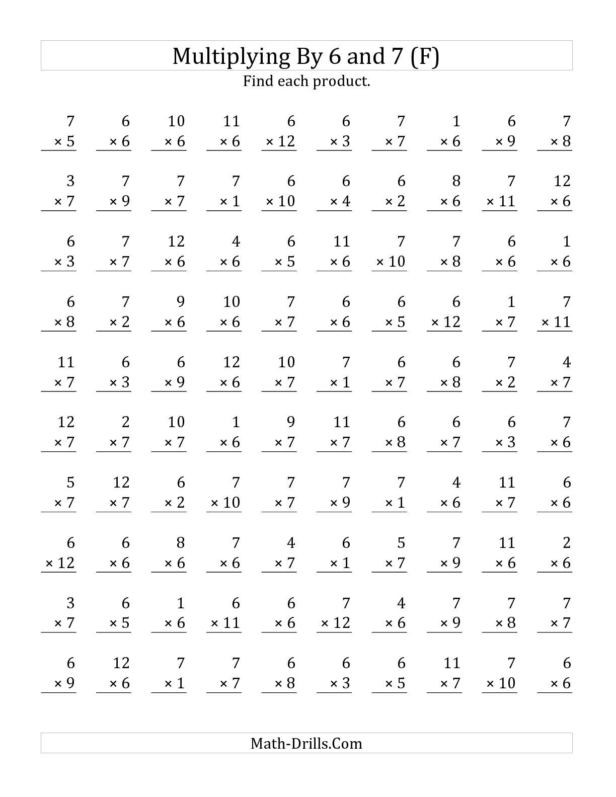 The Multiplying 1 To 12 By 6 And 7 F