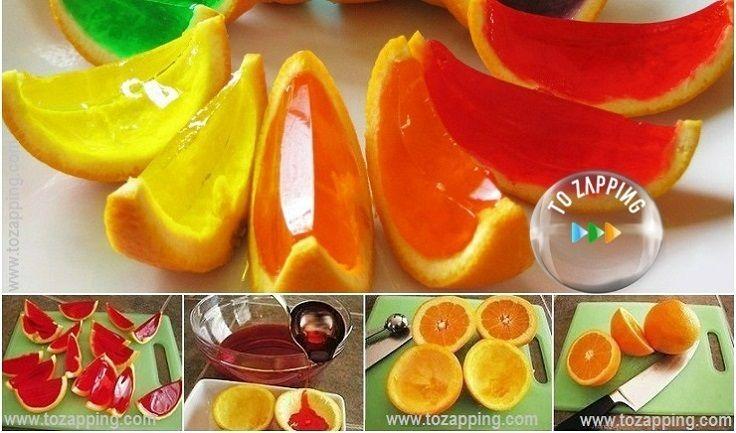 Naranjas de gelatina. Esta divertida opción que a los niños les encantará. ¿Habéis probado alguna vez la gelatina de frutas naturales? Naranjas de gelatina.
