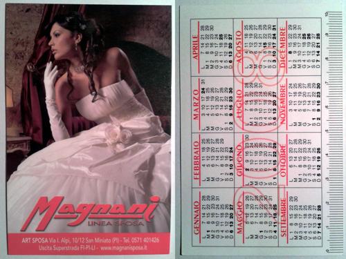 Calendarietto pubblicitario 2008 - Magnani Linea Sposa