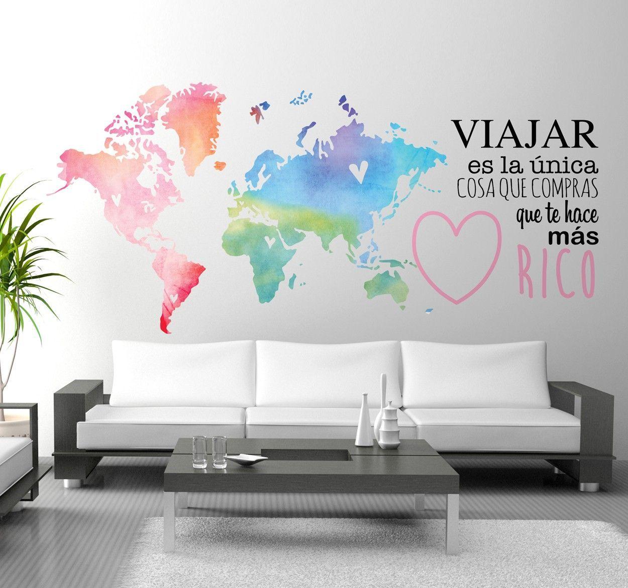 Vinilo mapamundi y texto sobre viajar #agenciadeviajes | frases ...