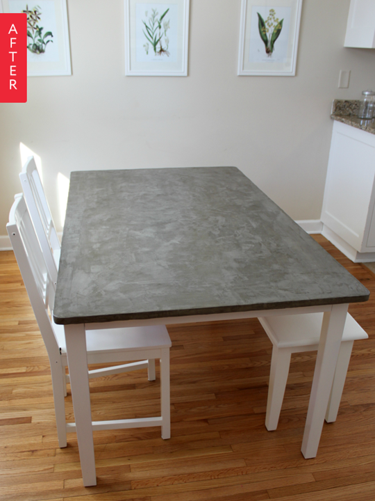 Before After Mismatched Ikea Table Gets A Concrete Makeover