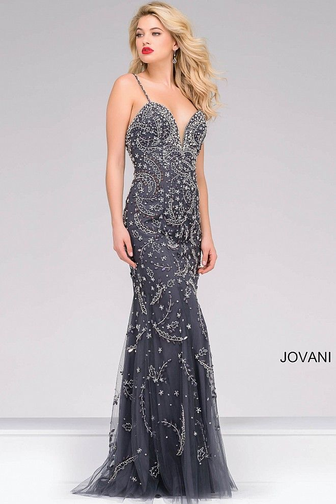 802aa879886 Beautiful gunmetal floor length fully beaded prom dress with spaghetti  straps features sweetheart neckline and an open back