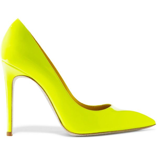 René Caovilla Neon patent-leather pumps ($210) ❤ liked on Polyvore featuring shoes, pumps, chartreuse, slip on shoes, slip-on shoes, patent leather pumps, patent pointy toe pump and pointed toe high heel pumps