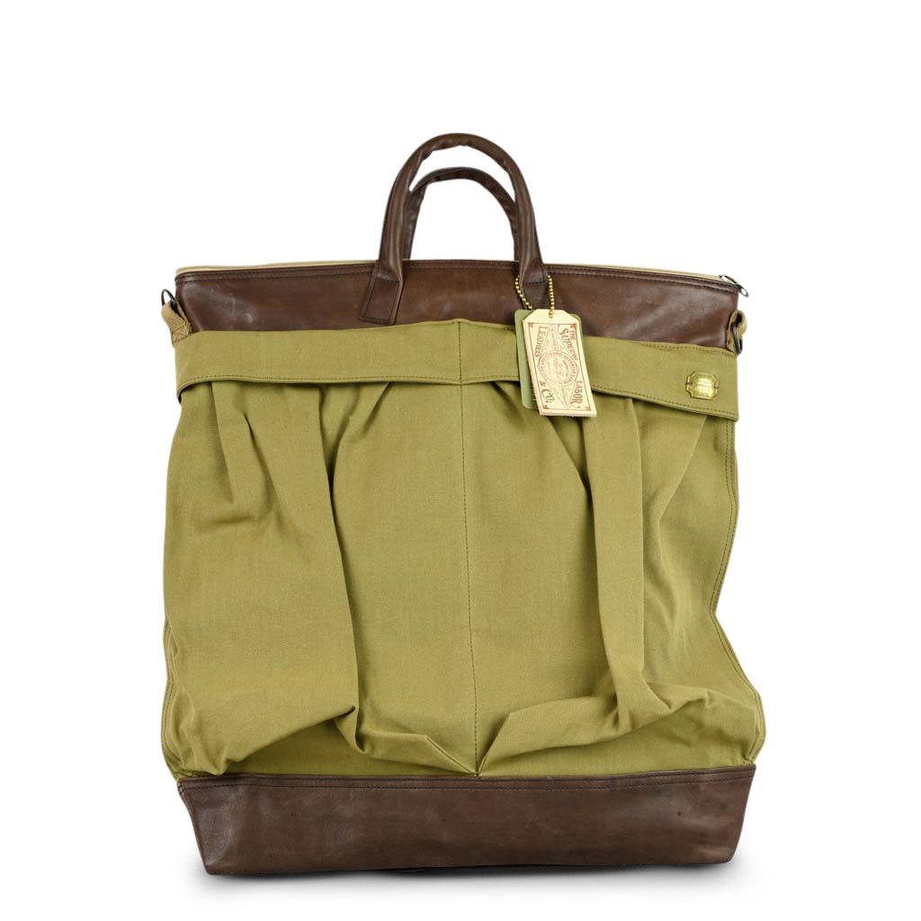 The Superior Labor - Canvas and Leather Helmet Bag (Khaki & Brown Leather)