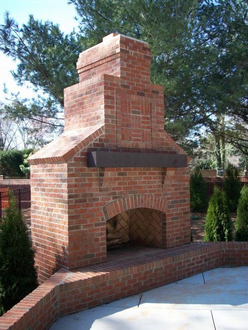 Brick Fireplace With Wood Mantel Outdoor Fireplace Brick