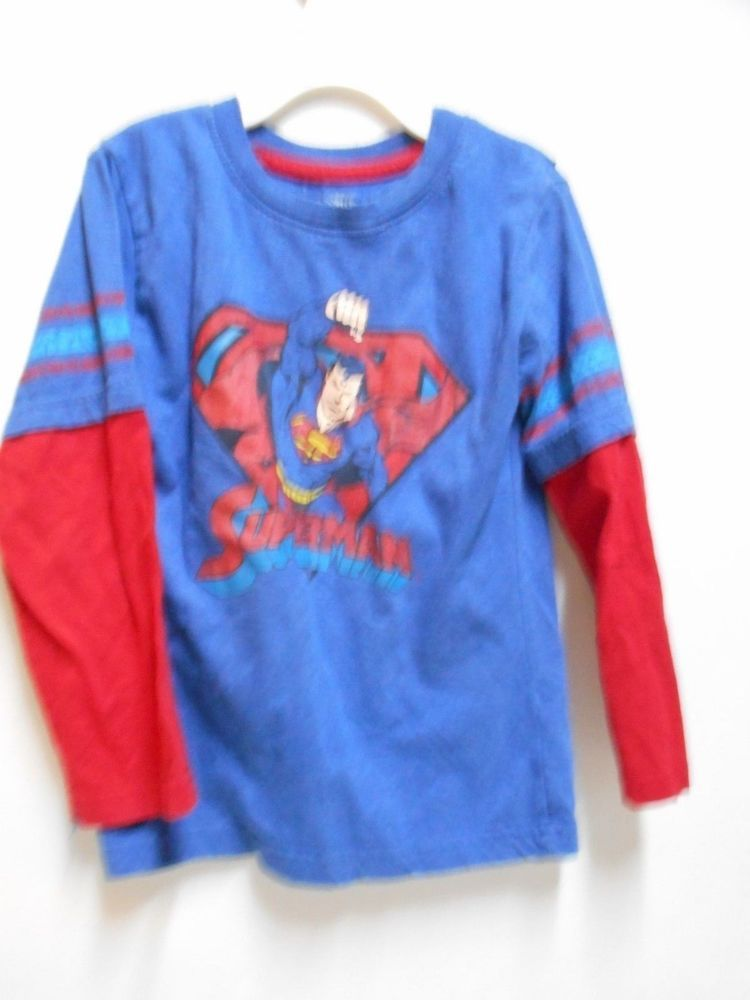 4eaf95963 SIZE 5T Boy's FUN Superhero T-Shirt Long Sleeve Superman Shirt W/O The Cape  #Superman #Everyday