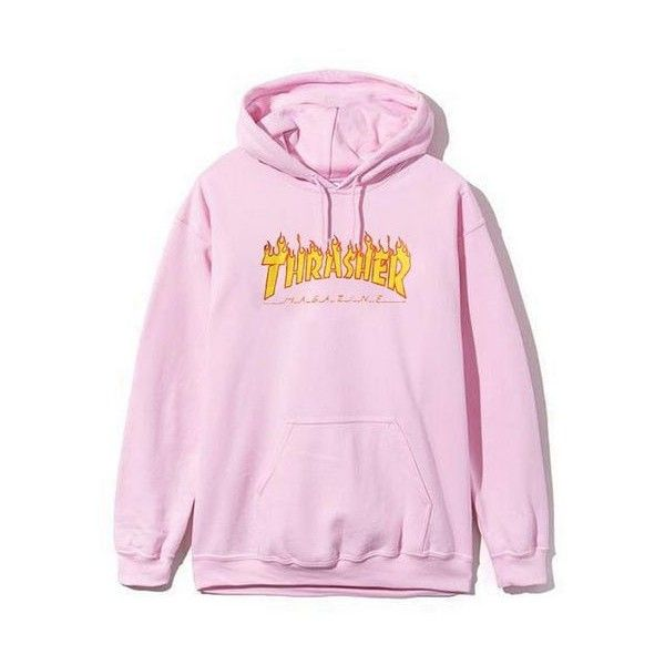 6df11215a86e Thrasher Magazine Flame Logo Pink Hoodie ❤ liked on Polyvore featuring  tops