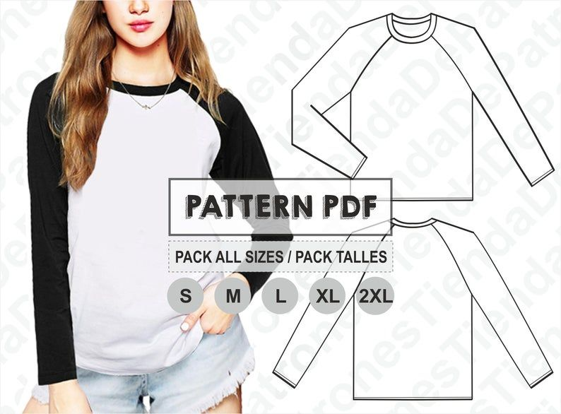 Pattern T Shirt Women Long Sleeve Raglan Women S T Shirts Sewing Pattern Digital Pattern Pdf Pack Size S 2xl Instant Download Remeras De Mujer Camisetas Diy Remodelar Camisa