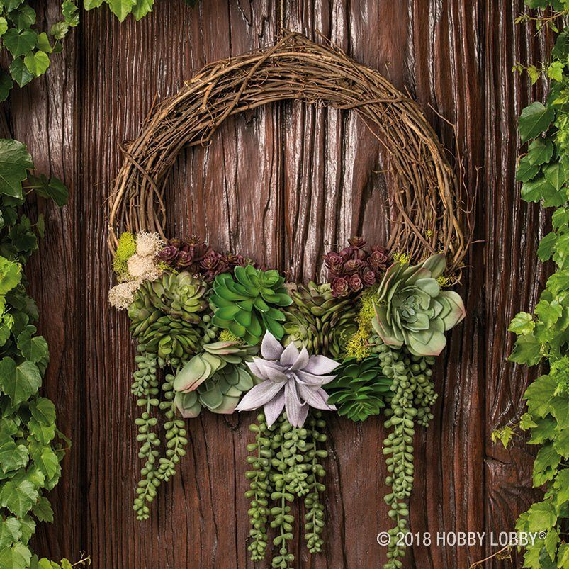 Go For A Simple Look With Succulent Picks Added To A Grapevine Wreath Succulent Wreath Diy Door Wreaths Diy Wreaths