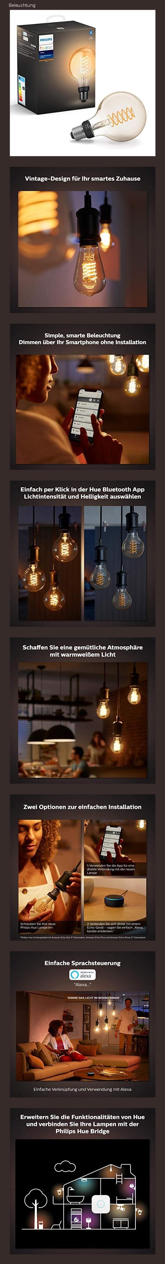 Philips Hue White Filament E27 Led Globe Dimmbar Vintage Design Warmweisses Licht Steuerbar Vi In 2020 Led Hue Design